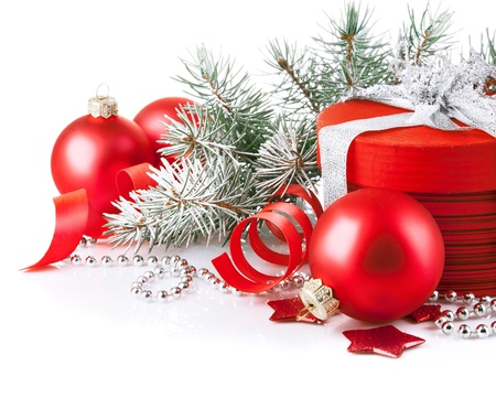 christmas beads: christmas red gift with branch firtree