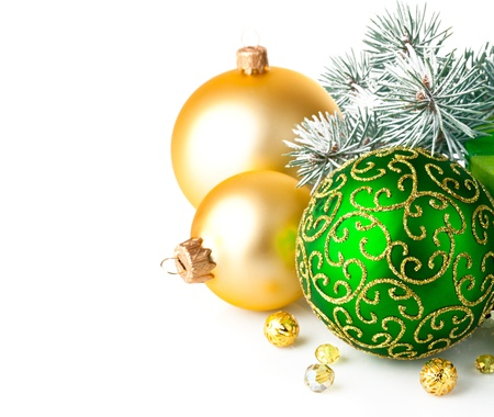 christmas beads: christmas green gift with firtree branch isolated on white background