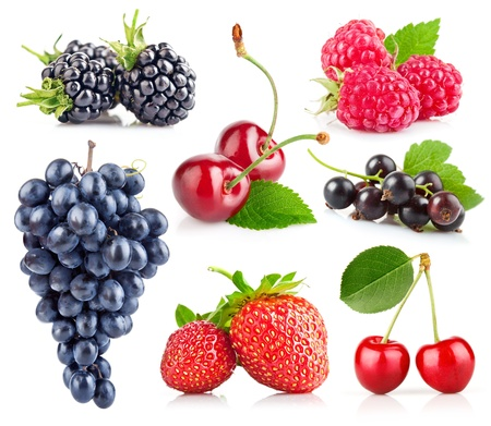 grape cluster: set of fresh berry with green leaf isolated on white background Stock Photo