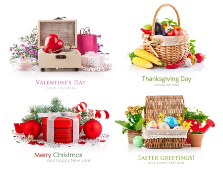 set of composition different holidays isolated on white background photo