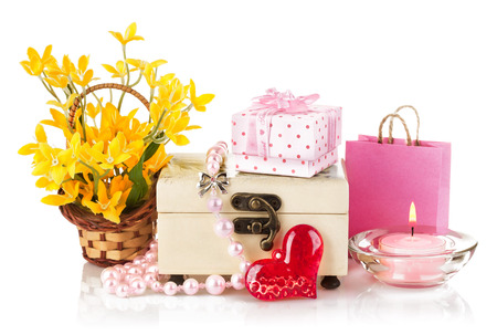 valentines day concept with gift and flowers isolated on white background photo