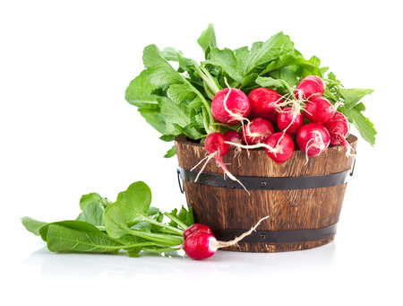 fascicle: Fresh ripe radish vegetables harvest in wooden bucket. Isolated on white background