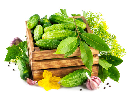 Fresh cucumbers in wooden box with green leaf and flower. Isolated on white background Фото со стока