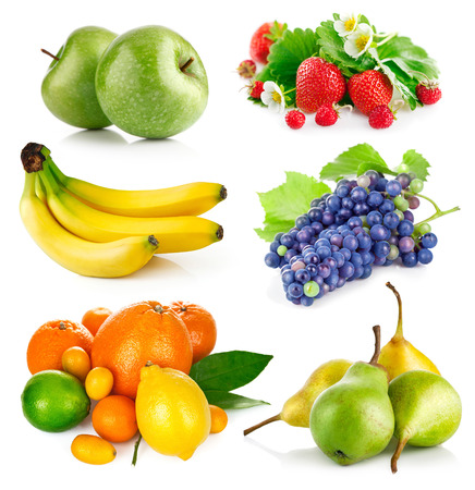 integrated groups: Set fresh fruits with green leaves. Isolated on white background Stock Photo