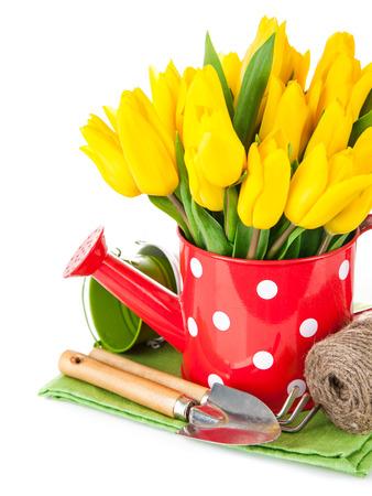 Frühling Blumen Tulpe mit Gartengeräte. Isoliert auf weißem Hintergrund