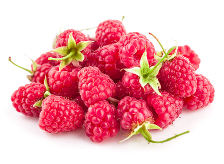 ingestion: Fresh berry raspberries with green leaves. Isolated on white background