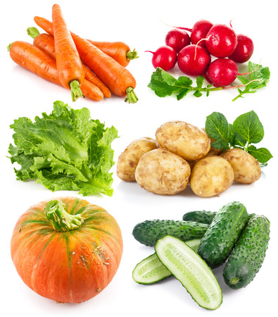 Set fresh vegetables. Isolated on white background