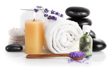 aroma therapy: Spa still life with lavender saltl isolated on white background