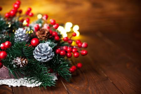christmas garland: Christmas fir with pinecone and garland Stock Photo