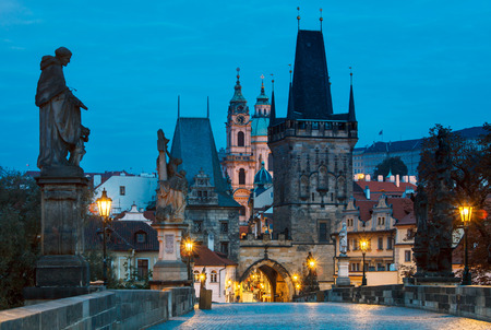 street lamps: Morning sunrise Charles bridge Prague Czech republic
