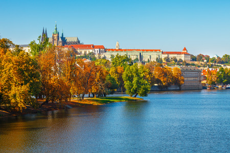 vltava: Autumn Prague castle over river Vltava Czech Republic
