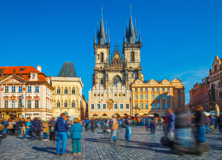 tyn: Church of our lady before tyn on Prague Czech republic Stock Photo