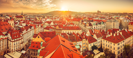 Panorama of red roofs skyline in Prague city Czech republic