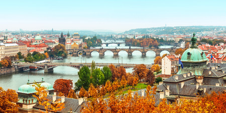 landscape view to Charles bridge on Vltava river in Prague Czech republic