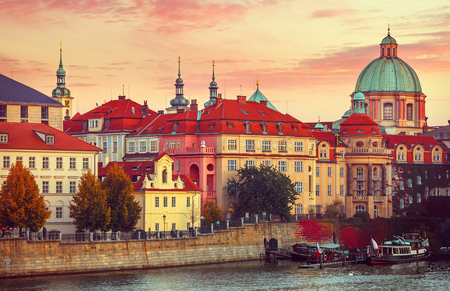 old city: Sunset roof house old city autumn prague czech republic Stock Photo
