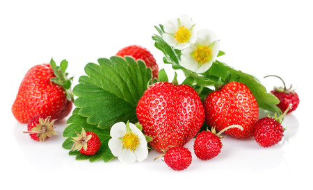 isolated on green: Fresh strawberries with green leaf and flower. Isolated on white background Stock Photo