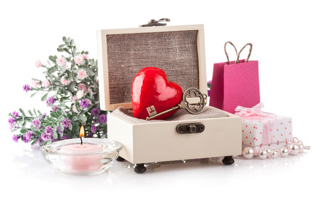 casket: Heart in casket gift on holiday valentines day. Isolated on white background Stock Photo