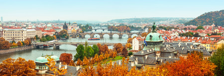 city view: panorama view to Vltava river in Prague Czech republic