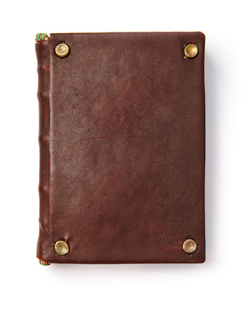 leather: Vintage book with blank leather cover, isolated white background