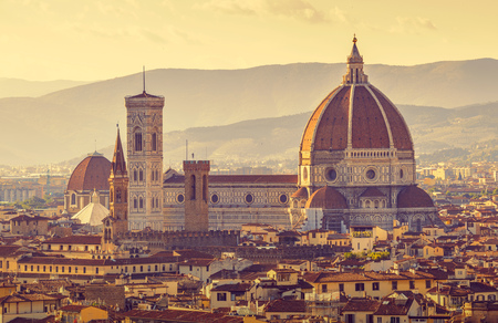 fiore: Retro-styled Florence evening old town view to Santa Maria del Fiore cathedral, Tuscany region, Italy
