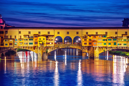 localities: Late sunset at bridge Ponte Vecchio in Florence old town on Arno river, Italy