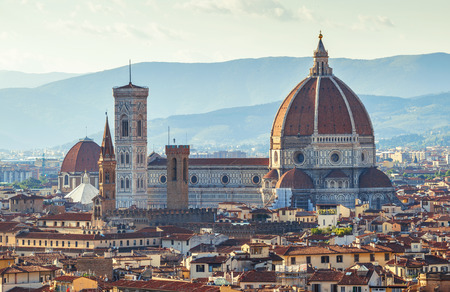 santa maria del fiore: Florence evening old town view to Santa Maria del Fiore cathedral, Tuscany region, Italy Stock Photo