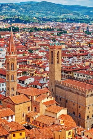localities: Tower of Palazzo Vecchio in Florence top view to roofs of old town