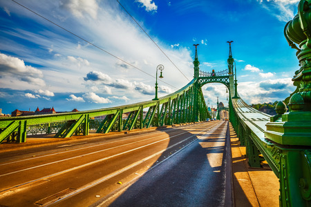 liberties: Road at Freedom bridge on Danube river in Budapest city, Hungary