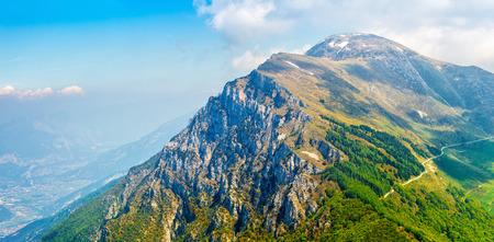 eminence: Picturesque view from hill Monte Baldo mountain to Altissimo above lake Garda. Veneto region, Italy
