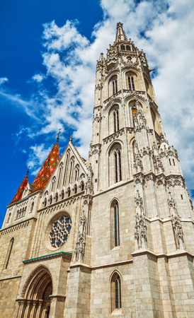 entries: Saint Matthias church entrance and tower in Budapest, Hungary Stock Photo