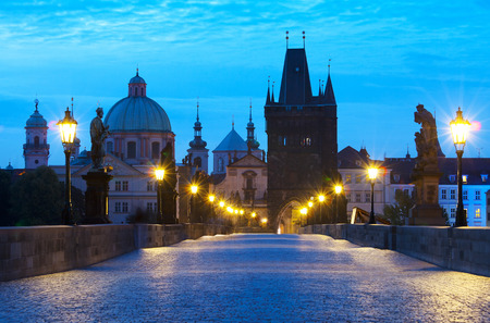 Morning sunrise Charles bridge Prague Czech republic