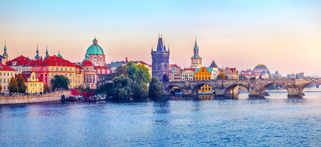 city landscape: Sunset landscape view to Charles bridge on Vltava river in Prague Czech republic