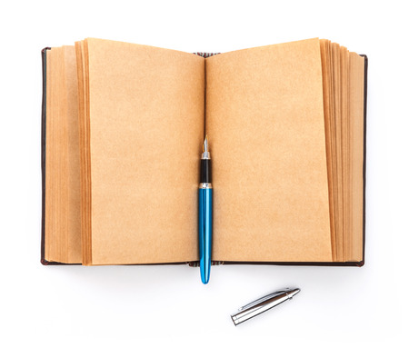 spread sheet: Open spread old book with blank page, isolated on white background