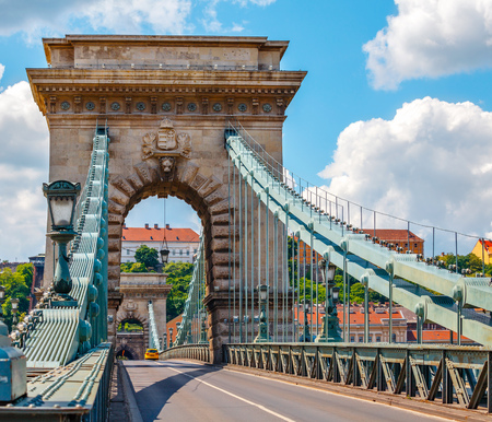 the chain bridge: Vintage arch at Chain bridge in Budapest city on Danube river in Hungary