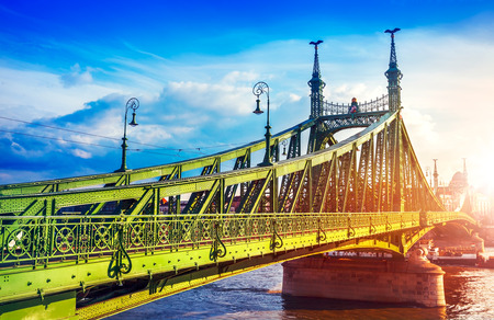 localities: Road at Freedom bridge on Danube river in Budapest city, Hungary