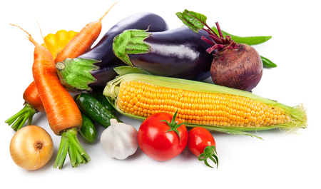 vegetables on white: Vegetables fresh still life top view, isolated on white background