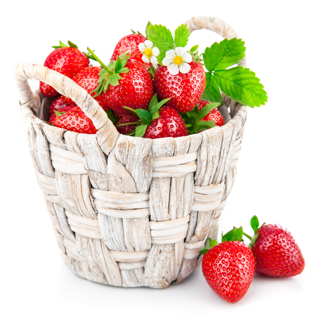 strawberry baskets: Basket fresh strawberry with green leaf and flower. Isolated on white background