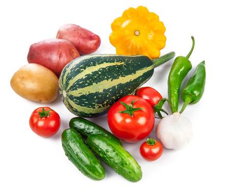 vegetables on white: Still life of fresh vegetables healthy eating, isolated on white background
