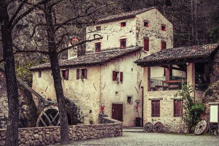 italian village: Molinetto della Croda old mill in Italy medieval Europe landmark