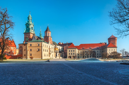 locality: Yard square of Wawel castle in Krakow old town Poland sunny winter morning panorama landscape,  Stock Photo