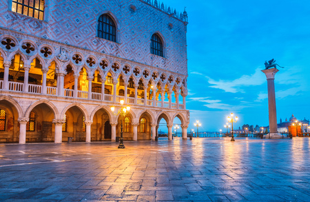 Ducal Palace on Piazza San Marco Venice landscape street lamp square town famous landmark.