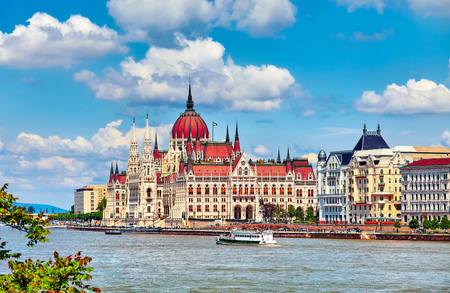 Panorama with building of Hungarian parliament at Danube river in Budapest city, Hungary. Blue sky with clouds