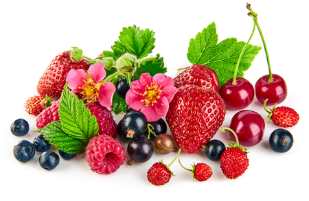 Berry mix with strawberry raspberry and currant fruity still life green leaf.