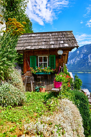 Hallstatt, Austria. Decorative wooden antique barn among green plants, flowerpots and flowers at slopes of knolls above old town along Hallstattersee lake in austrian Alps mountains.