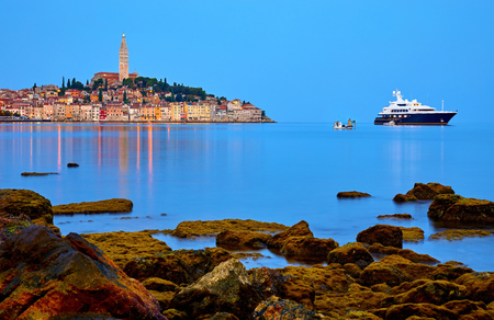 Rovinj, Istria, Croatia. Antique medieval old town at Adriatic sea. Calm summer morning with blue sky.