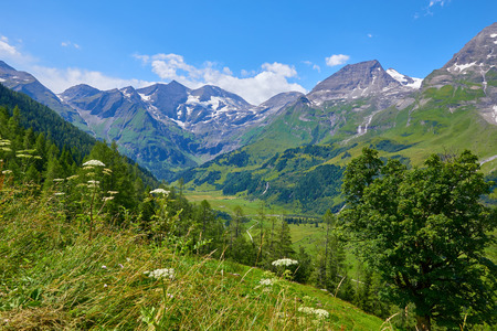Panoramic view at Pasterze Glacier Grossglockner among austrian Alps mountains summits blue sky clouds. 版權商用圖片
