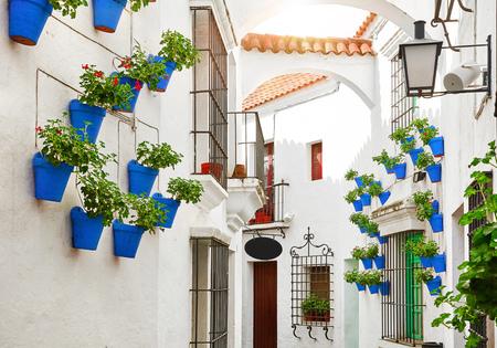España. Calle mediterránea tradicional en la vieja ciudad española con paredes blancas de casas y macetas azules con flores. Foto de archivo