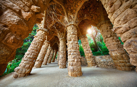 Barcelona, Spain. Park Guell. Antonio Gaudi Art Architecture.