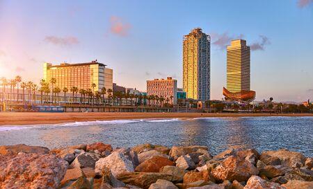 Barcelona, Spain. Panoramic view at Barceloneta beach from sea. Stockfoto - 128002035