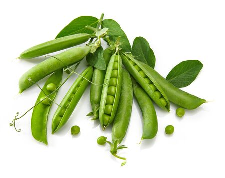 Green peas with twig leaf and pods. Stockfoto